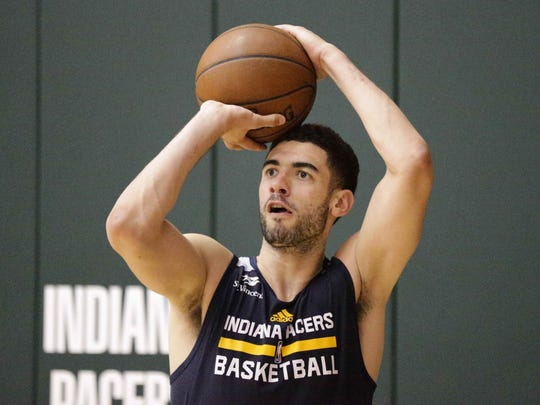 NBA Draft Prospect Georges Niang runs shooting drills during a work out with the Indiana Pacers, at Bankers Life Fieldhouse TCU Court,  Friday July 17th, 2016.