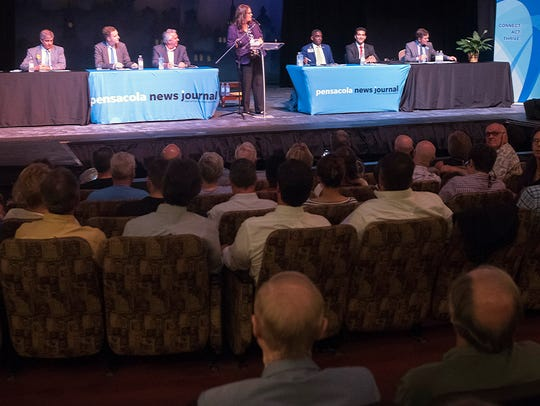 Candidates for Pensacola mayor gather for a forum Monday at the Pensacola Little Theatre. The forum was hosted by the Pensacola News Journal.