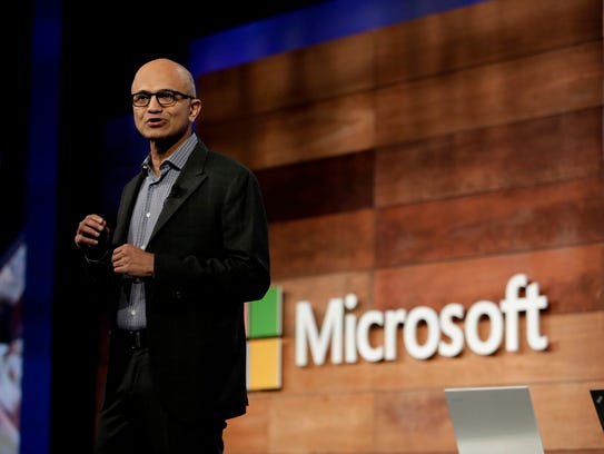 Microsoft CEO Satya Nadella speaks during the annual