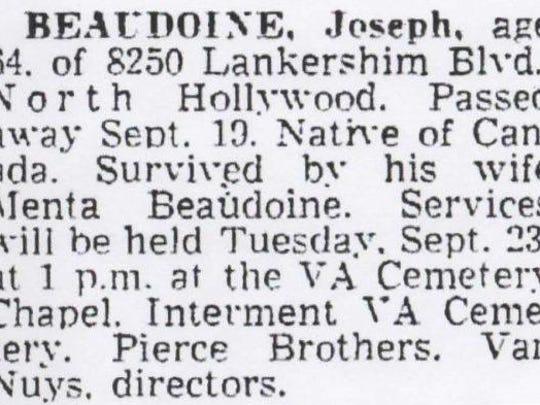 Obituary notice for Joseph Beaudoine in the Van Nuys News, California, Sept. 21, 1958.