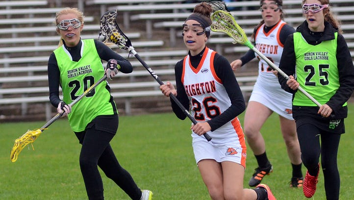Brighton's Hannah Kelley had 8 goals and 2 assists in a season-opening 22-2 victory over Plymouth.