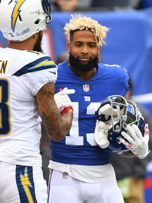 Giants WR Odell Beckham Jr. was carted off the field during Sunday's game against the Chargers at MetLife Stadium with an ankle injury.