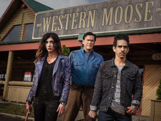 Dana DeLorenzo, Bruce Campbell and Ray Santiago of