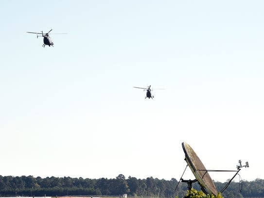 Two Louisiana National Guard UH-72 Lakotas depart from