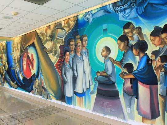 A large mural by Salinas artist Jose Ortiz decorates