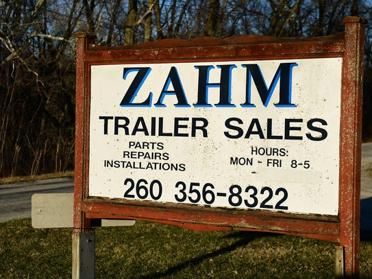 The sign at the entrance of Zahm Trailer Sales and