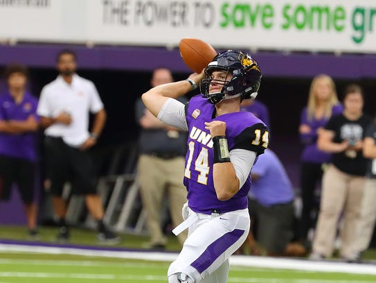 UNI quarterback Eli Dunne threw for 325 yards and four