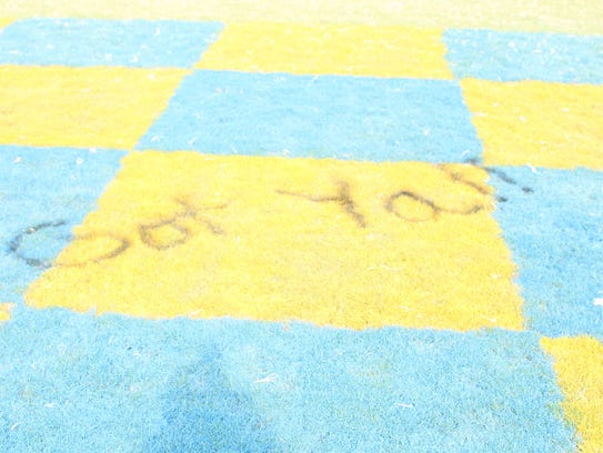 "McNairy Central's end zone vandalized with ""Got Yall."""