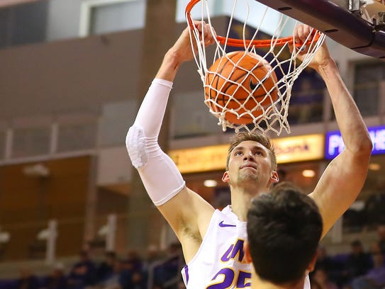 UNI's Bennett Koch slams one home during the Panthers'