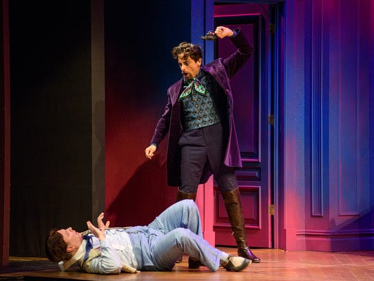 Mic Matarrese as Camille and Michael Gotch as Don Carlos.