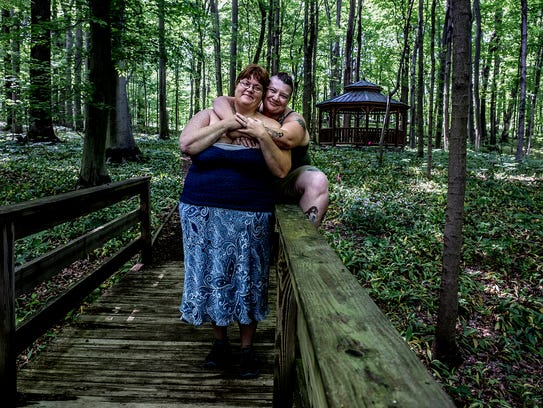 Lisa Watson, 36 and Jessica Starkey, 31, were photographed at Dawes Arboretum, where they had their first official date.
