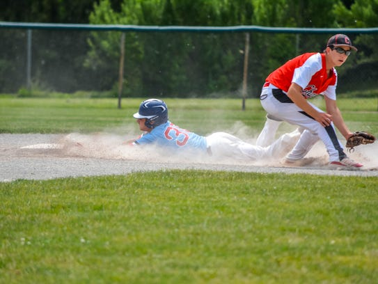 Sliding head-first into second base during Saturday's