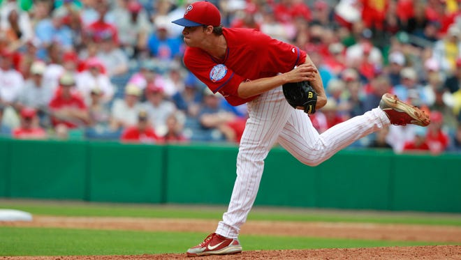 Phillies pitcher Aaron Nola throws a pitch during the third inning of a spring training game March 27 against the New York Yankees at Bright House Field. Credit: Kim Klement-USA TODAY Sports