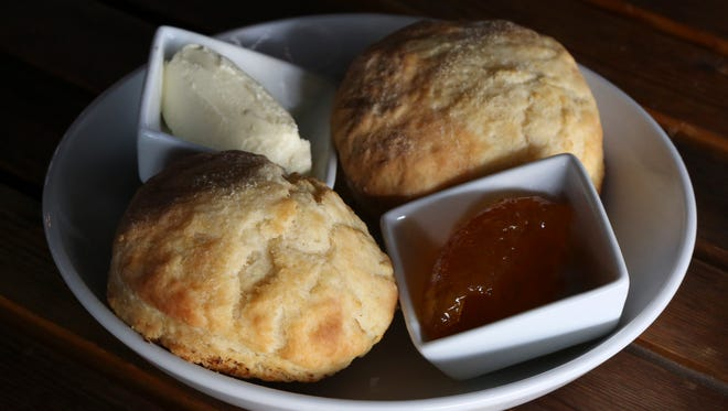 The homemade biscuits with butter and preserves served at The Hub.