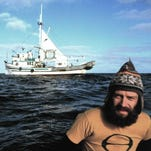 """Robert Hunter, the first president of Greenpeace and one of its early leaders, in a still from the documentary """"How to Change the World,"""" playing Feb. 18 for the """"Dinner and a Movie"""" series at Greens N Grains Cafe."""