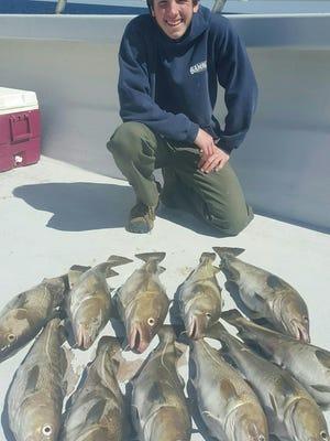 Gambler crew member Andrew Bogan, Brick, with Wednesday's catch of codfish.