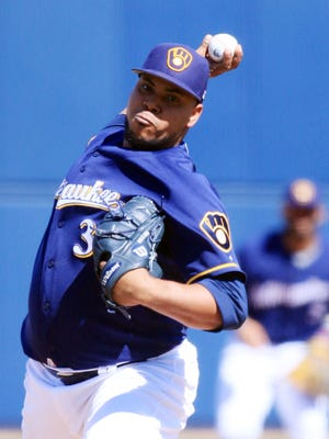 Wily Peralta got the start in the Brewers' opener at Maryvale Baseball Park Sunday.
