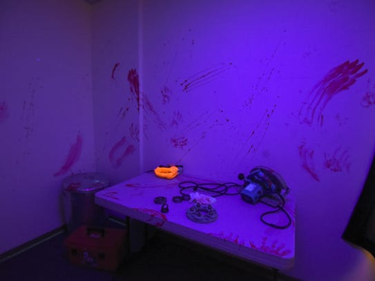 Guests will encounter this macabre scene at Clues Escape