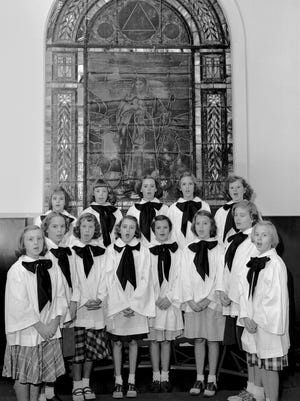 ]These members of the junior choir at Buntyn Presbyterian Church will sing carols in the Holmes and Highland area in December 1951. They are (front row from left): Marie Sisson of 3863 Southern, Sue Dean of 3249 Central, Virginia Ogden of 790 Moon, Catherine Macdonald of 3611 Norriswood, Carolyn Wray of 475 Prescott, Mary Jane Sorsby of 570 Prescott, Eileen O'Bannon of 515 Alexander and Ann Kuykendall of 374 Rosamond. (Second row from left):  Susan MacDonald of 3611 Norriswood, Nancy McKee of 1201 Railton, Patsy Medford of 916 Semmes, Nancy Haynes of 3215 Johnson and Dauris Jean Parker of 630 Houston.