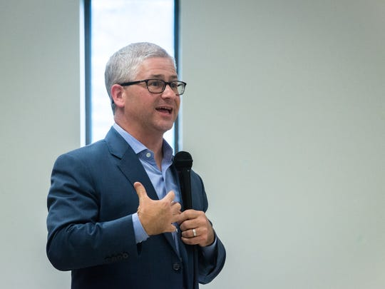 Congressman Patrick McHenry speaks to attendees of his town hall meeting at the Land of Sky Shrine Club Tuesday, August 22, 2017.