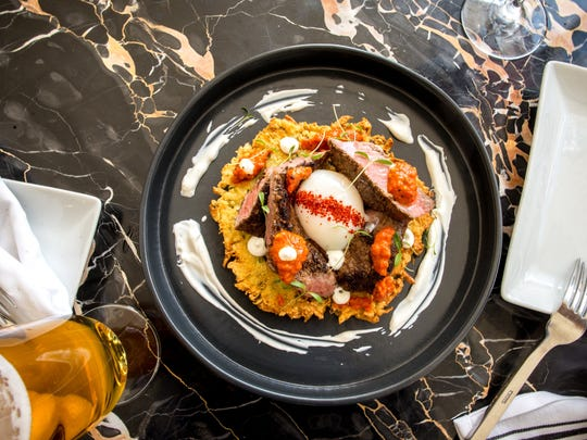 For Easter brunch, Reyla will serve a latke topped with lamb shawarma, poached egg and harissa.