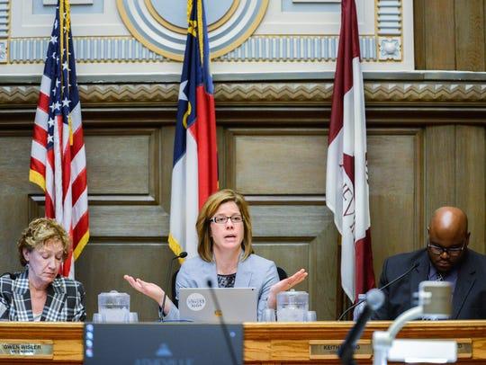 Mayor Esther E. Manheimer speaks at an Asheville City