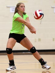 Water Valley freshman Kirstyn Greebon is shown in this file photo from the 2016 Nita Vannoy Memorial Volleyball Tournament.