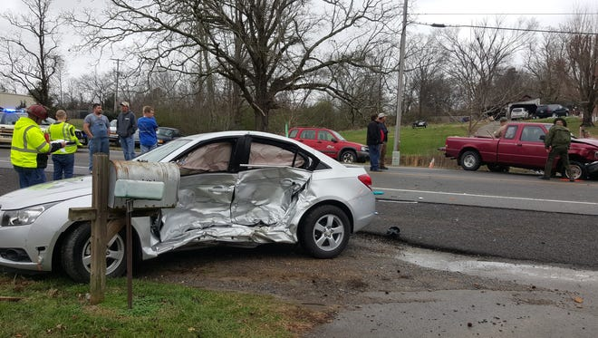 The scene of a fatal wreck Saturday in Tennessee City.