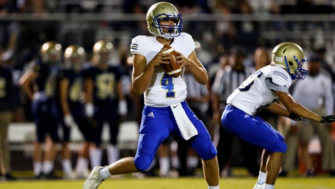 Brentwood quarterback Carson Shacklett drops back to pass during their game against Independence, Friday, Sept. 29, 2017, in Nashville, Tenn. (Photo by Wade Payne, Special to the Tennessean)