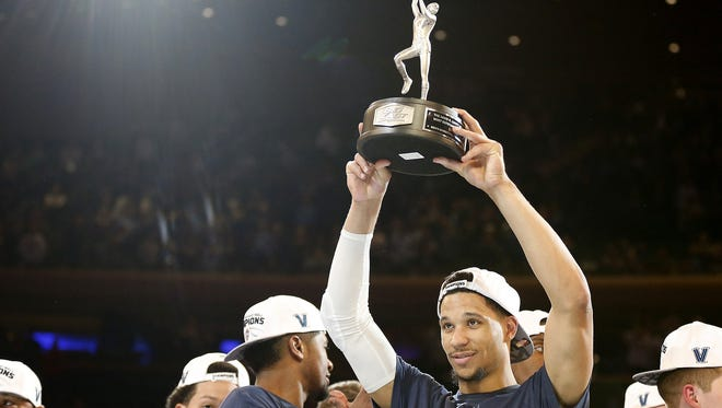 Villanova's Josh Hart win the Most Outstanding Player award after the Wildcats' 74-60 win against Creighton in the Big East Tournament final at Madison Square Garden in New York on Saturday, March 11, 2017.