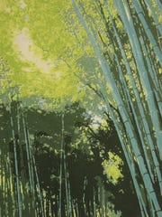 """""""Arashiyama Bamboo Grove,"""" screen print by Connie Wolfe, part of the """"Prints Matter, Master Mimics"""" exhibit opening Jan. 21 at the Miller Art Museum."""