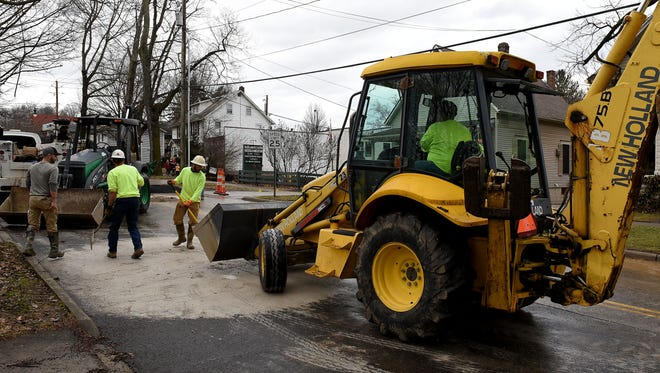 South Main Street in Granville is closed to all traffic until later Monday evening because of a water leak.
