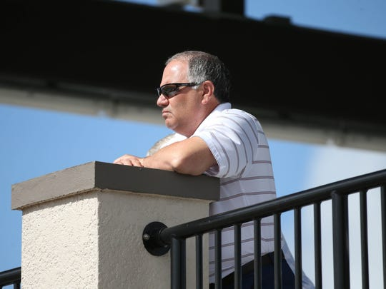 Detroit Tigers general manager Al Avila watches spring training Wednesday, Feb. 21, 2018 at Joker Marchant Stadium in Lakeland, Fla.