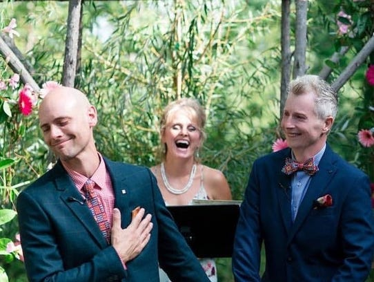 Jerad Bortz, left, and Steven Skeels at their wedding.