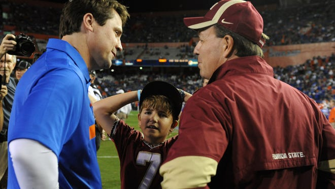 Florida's Will Muschamp, left, and FSU's Jimbo Fisher were once assistants at LSU.