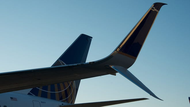 "A freshly installed ""split scimitar"" winglet on a United Airlines aircraft."