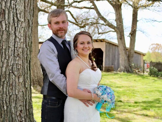 Mr. and Mrs. David Peek on their wedding day April