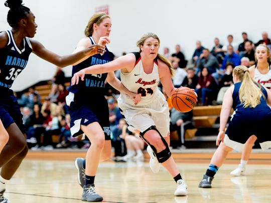 Maryville's Lindsey taylor (44) dribbles the ball past Hardin Valley's Abbey Cornelius (25) during a game between Maryville and Hardin Valley at Maryville High School in Maryville, Tennessee on Thursday, January 11, 2018.
