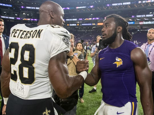 Saints running back Adrian Peterson, who played for