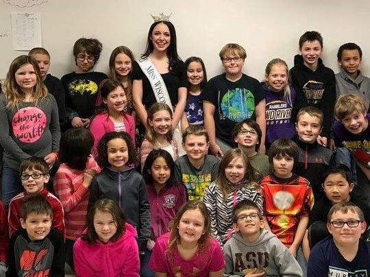 Miss Wisconsin Courtney Pelot visited students at Koenig Elementary School in Two Rivers Feb. 13.