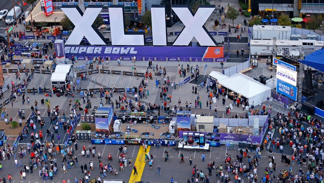 A bird's-eye view of the Verizon Super Bowl Central on Wednesday, Jan. 28, 2015, in downtown Phoenix.