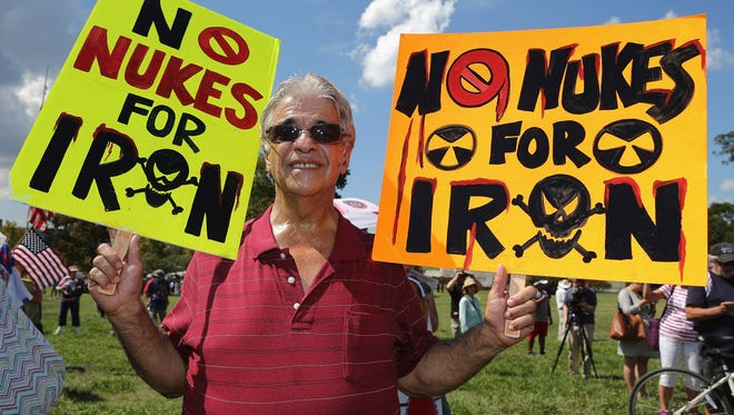 """""""Tea party"""" supporters on Wednesday gathered on the West Front Lawn for a rally against the Iran nuclear deal at the U.S. Capitol. The debate is expected to continue in Arizona's developing 2016 U.S. Senate race."""