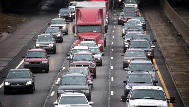 Cars on freeway.