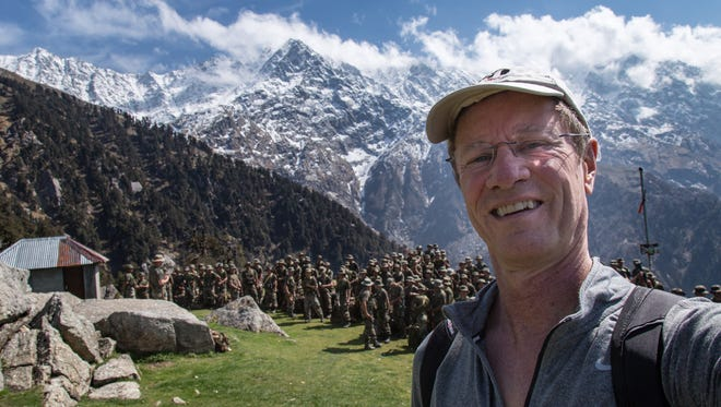 Greg Meyer of Phoenix hiked to Triund in the Himalayas in India. The Indian Army was doing a training hike the same day.