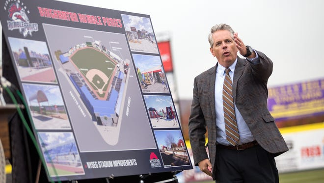 Rumble Ponies owner John Hughes speaks during a news conference where a $2.5 million improvement project to NYSEG Stadium was announced Nov. 15, 2016. The project revamped the stadium's bullpens and batting cage, improve infrastructure, and add seating options.