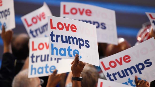 Signs at the Democratic National Convention. Does it?