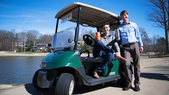 Bo Wicker and Barrett Wood, co-owners of Stache Cups, on Friday, February 10, 2017.