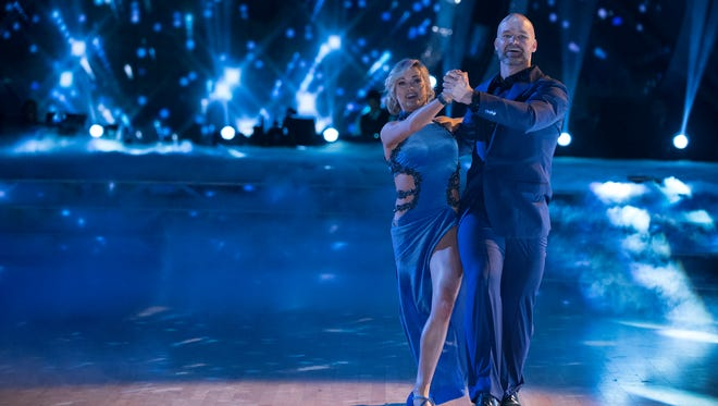 Lindsay Arnold and David Ross compete in the semifinals of Dancing With the Stars.