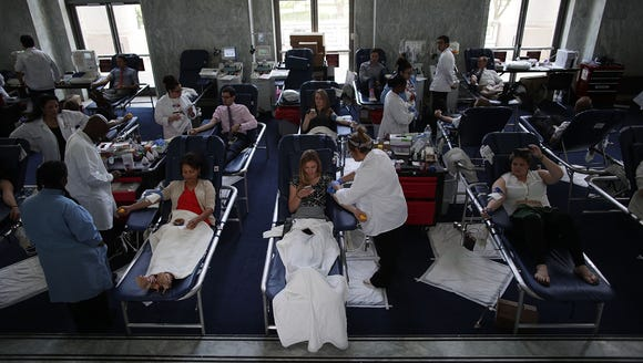 Congressional staff donate their blood during a blood