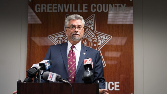 Lance Sheek, general counsel for the Greenville County Sheriff's Office, addresses the media on Tuesday, Oct. 24, 2017.